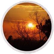 Sunset At Lake Michigan Round Beach Towel