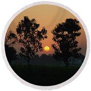 Sunset At Lumbini Round Beach Towel