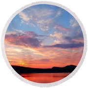 Sunset At Ministers Island Round Beach Towel