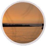 Sunset At Monterey Bay Round Beach Towel
