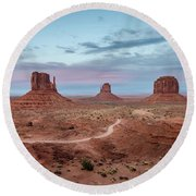 Sunset At Monument Valley No.1 Round Beach Towel