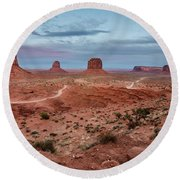 Sunset At Monument Valley No.2 Round Beach Towel