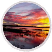 Sunset At Myakka River State Park, Florida Round Beach Towel