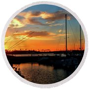 Sunset At Newport Beach Harbor Round Beach Towel