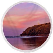 Sunset At North Head Lighthouse Round Beach Towel