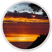 Sunset At Oswald West Round Beach Towel