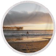 Sunset At Pacific Beach Pier - Crystal Pier - Mission Bay, San Diego, California Round Beach Towel