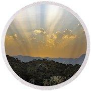Sunset At Pastelero Near Villanueva De La Concepcion Andalucia Spain Round Beach Towel