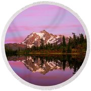 Sunset At Picture Lake Round Beach Towel