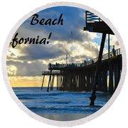 Sunset At Pismo Beach California Round Beach Towel
