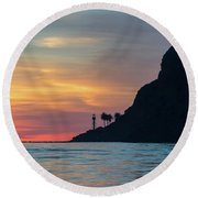 Sunset At Point Loma Round Beach Towel