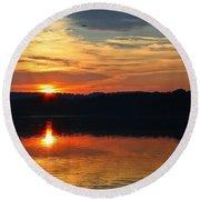 Sunset At Princess Point Round Beach Towel