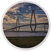 Sunset At Ravenel Bridge Round Beach Towel