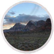 Sunset At Red Rock Canyon Round Beach Towel