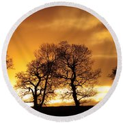 Sunset At Redhill Round Beach Towel