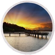 Sunset At Ruston Way Waterfront In Tacoma Round Beach Towel