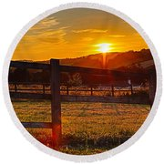 Sunset At Scartaglen Ireland Round Beach Towel