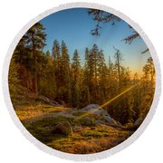 Sunset At Sequoia Round Beach Towel