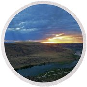 Sunset At Snake River Canyon 1 Round Beach Towel