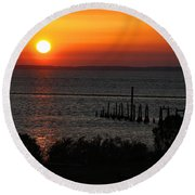 Sunset At St.marks Nwf Round Beach Towel