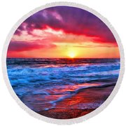 Sunset At Strands Beach Round Beach Towel