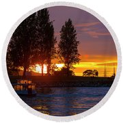 Sunset At Sunset Beach In Vancouver Bc Round Beach Towel