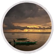 Sunset At Tabuena Beach 1 Round Beach Towel