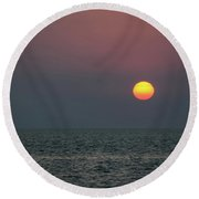 Sunset At The Beach Cape May Nj Round Beach Towel