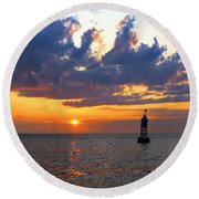 Sunset At The Bell Buoy Round Beach Towel