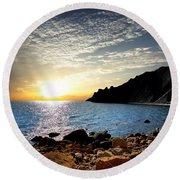 Sunset At The Black Sea Coast. Crimea Round Beach Towel