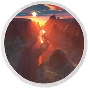 Sunset At The Canyon Round Beach Towel