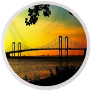 Sunset At The Delaware Memorial Bridge Round Beach Towel