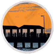 Sunset At The Fishing Pier Round Beach Towel