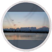 Sunset At The Lake7 Round Beach Towel