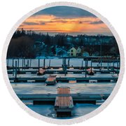 Sunset At The Marina In Winter Round Beach Towel