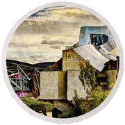 sunset at the marques de riscal Hotel - frank gehry - vintage version Round Beach Towel