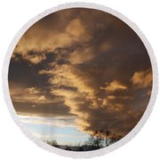 Sunset At The New Mexico State Capital Round Beach Towel