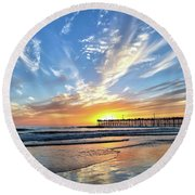 Sunset At The Pismo Beach Pier Round Beach Towel