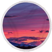 Sunset At The Ranch #2 - Patagonia Round Beach Towel