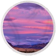 Sunset At The Ranch - Patagonia Round Beach Towel