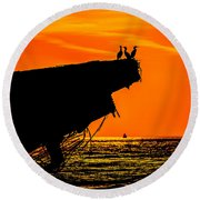 Sunset At The Ss Atlantus Concrete Ship Round Beach Towel