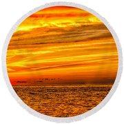 Sunset At The Ss Atlantus - Pano Round Beach Towel