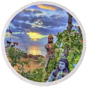 Sunset At The Temple Round Beach Towel