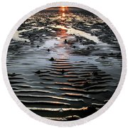 Sunset At The West Shore Llandudno Round Beach Towel
