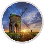 Sunset At The Windmill Round Beach Towel