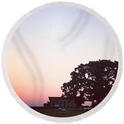 Sunset At The Winery Round Beach Towel