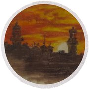 Sunset At Twin Lights Round Beach Towel