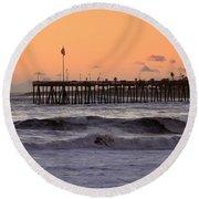 Sunset At Ventura Pier Round Beach Towel