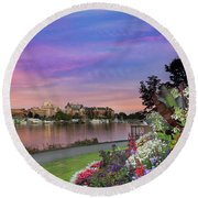 Sunset At Victoria Bc  Inner Harbour Round Beach Towel