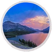 Sunset At Waterton Lakes National Park Round Beach Towel